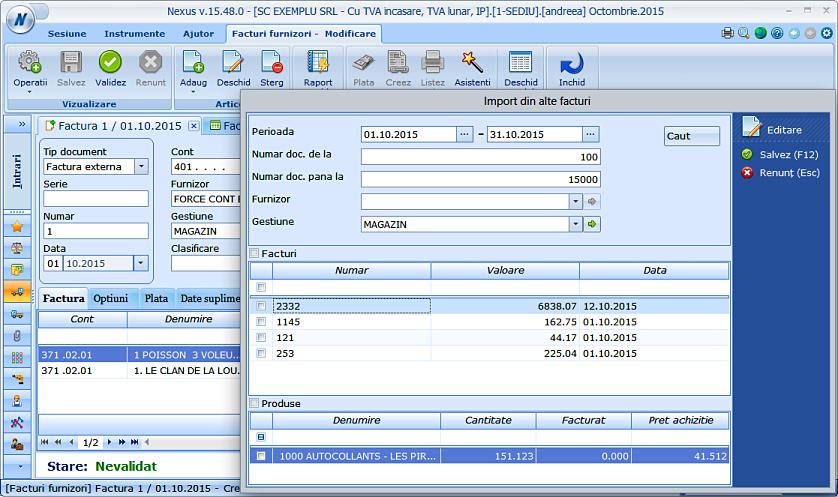 Optimizare adaugare din factura in facturi furnizori 02
