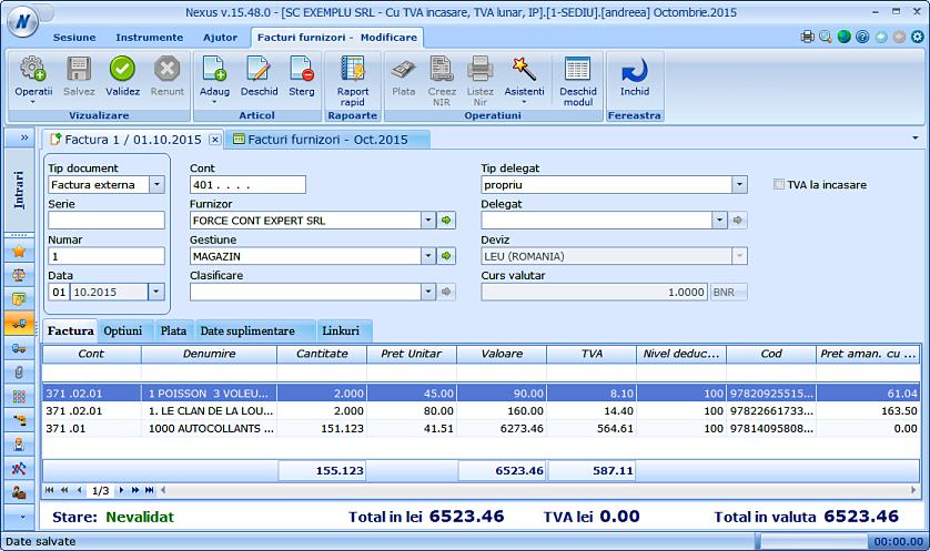 Optimizare adaugare din factura in facturi furnizori 03