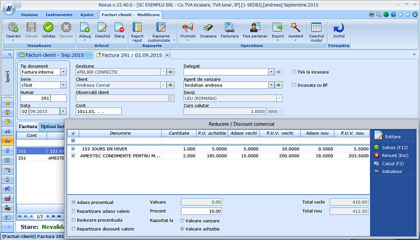 Modificare pret vanzare facturi clienti 02