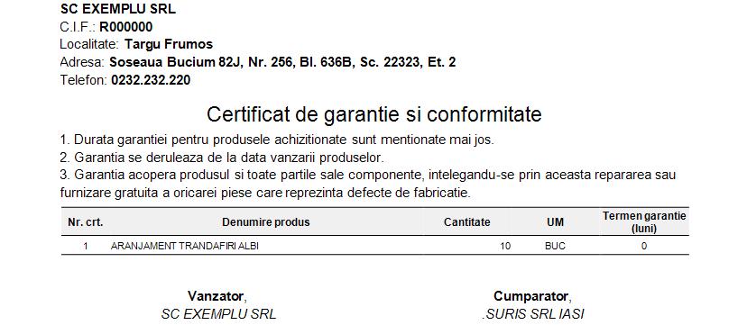 Raport Certificat Garantie Afisare