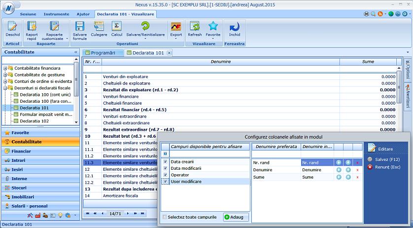 Data user creare modificare declaratie 101 01