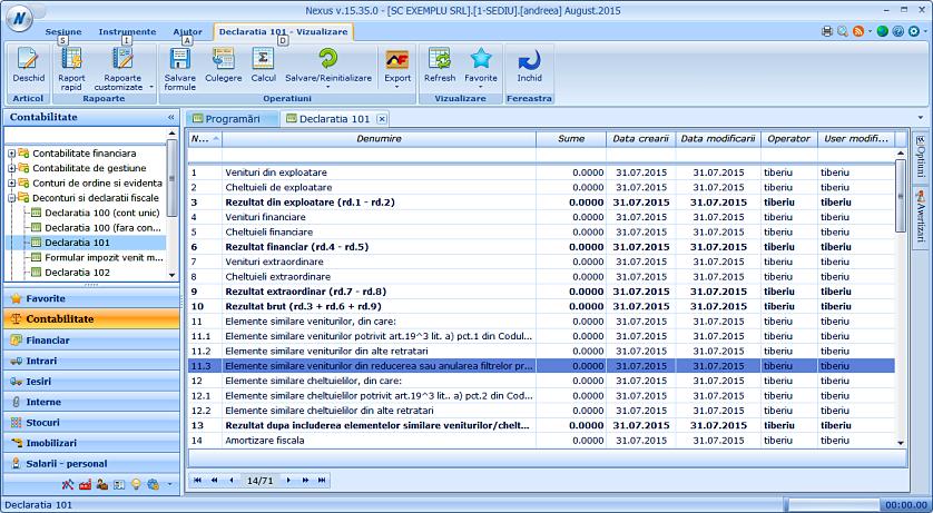 Data user creare modificare declaratie 101 02