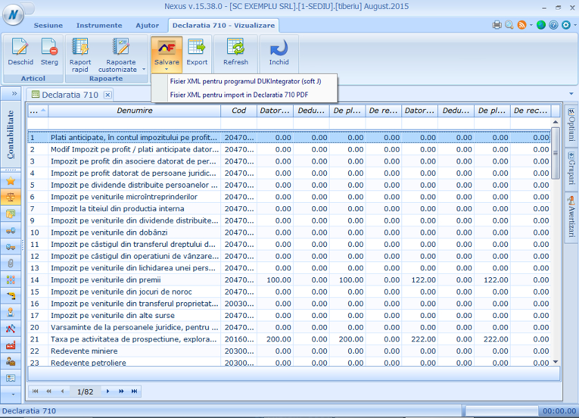Declaratia 710 export pt PDF