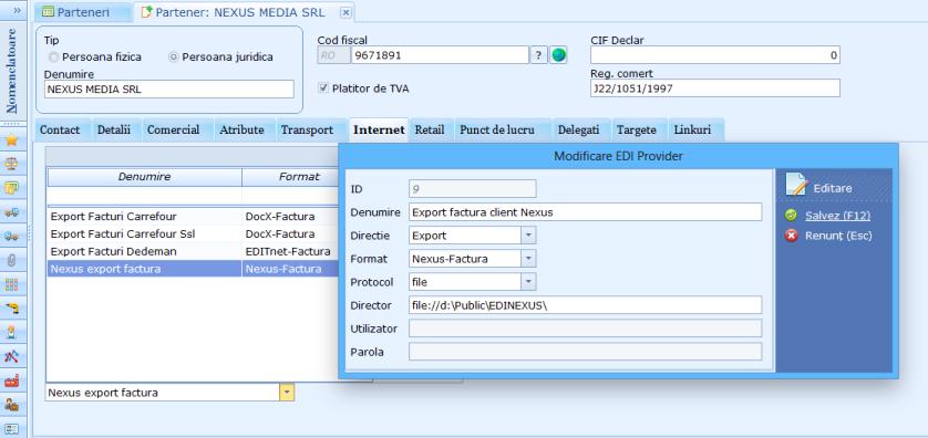 EDI configurare schimb electronic documente