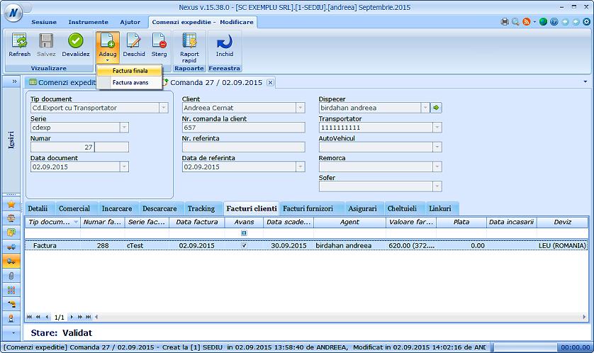 Generare factura client comenzi expeditii 01