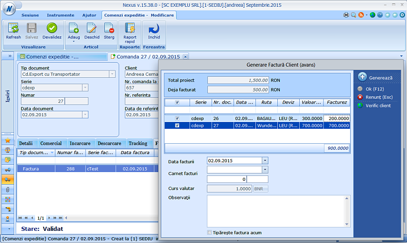 Generare factura client comenzi expeditii 02