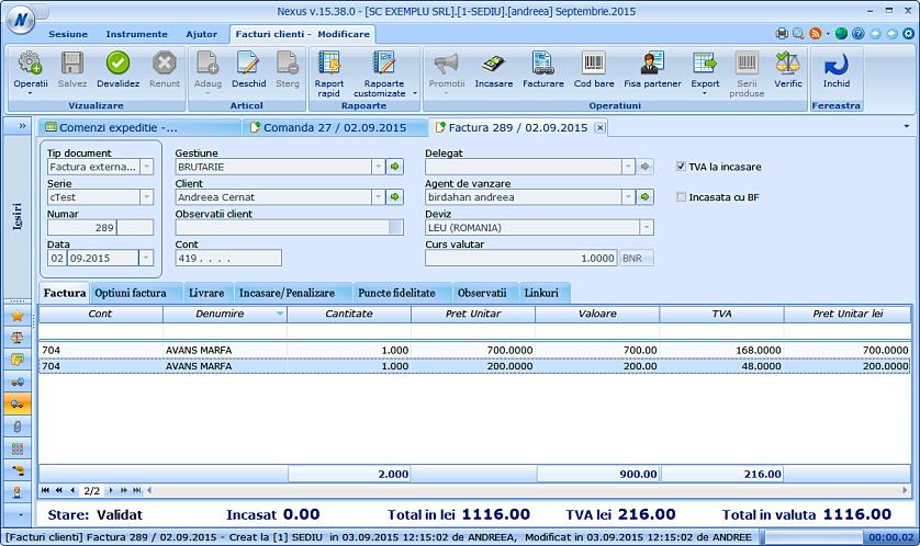 Generare factura client comenzi expeditii 03