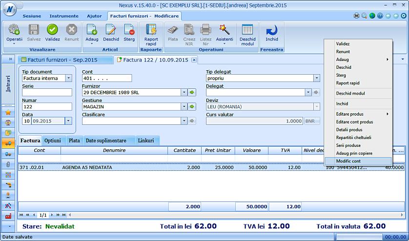 Modificare cont produs factura furnizor 01