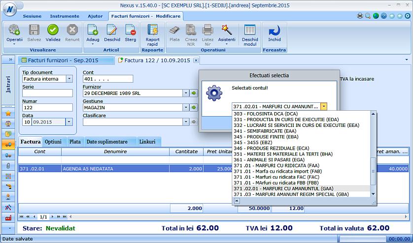 Modificare cont produs factura furnizor 02
