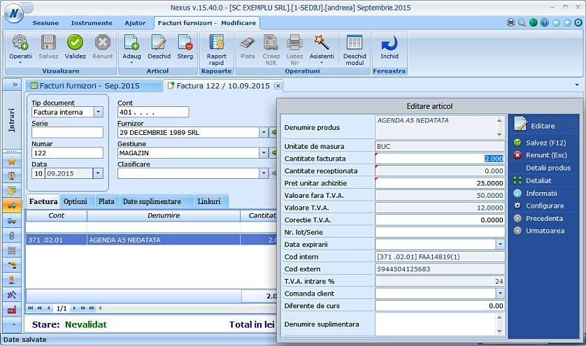 Modificare cont produs factura furnizor 03