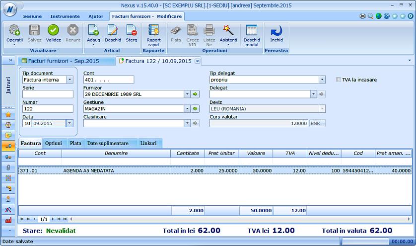 Modificare cont produs factura furnizor 04