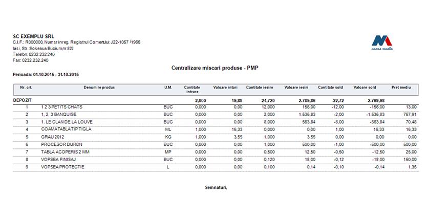 statistica miscari produse raport centralizare 03