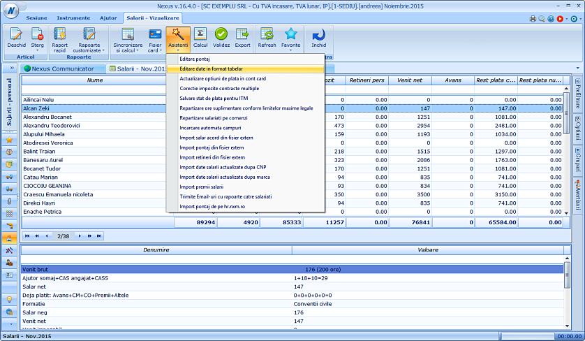 Editare date in format tabelar sporuri 01