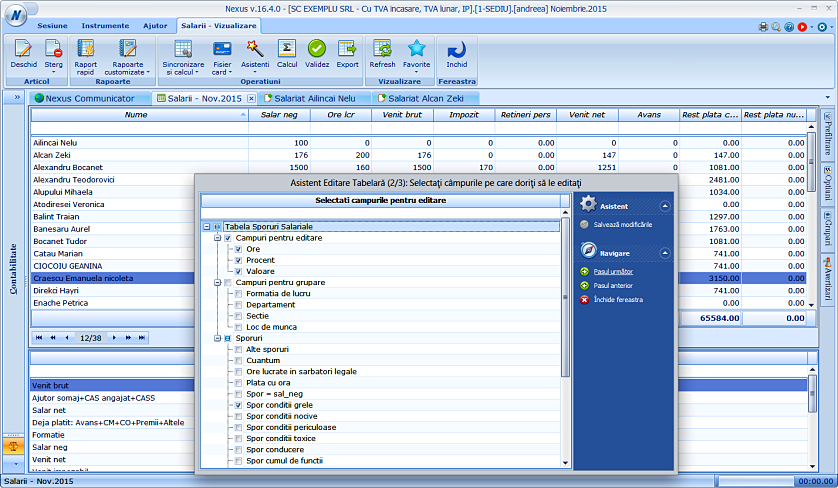 Editare date in format tabelar sporuri 02