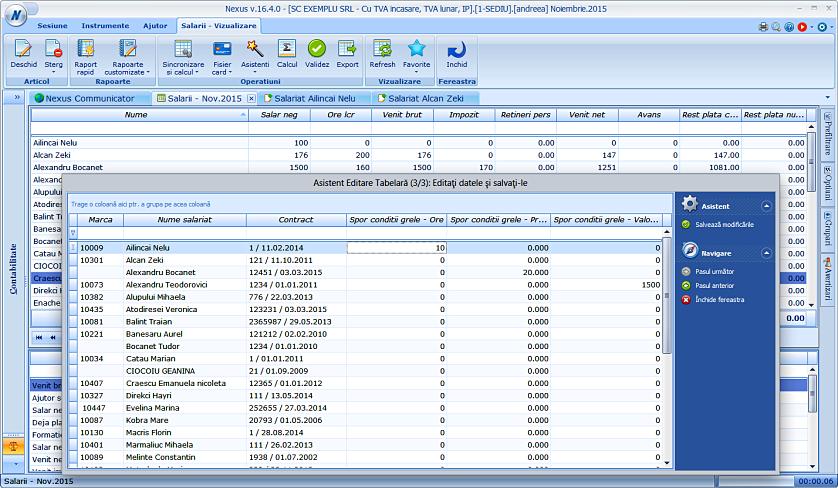 Editare date in format tabelar sporuri 03