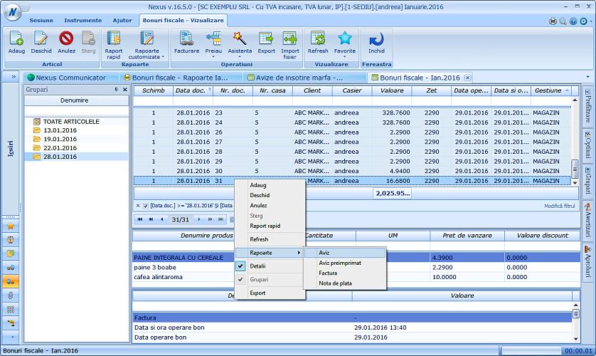 Listare aviz insotire marfa pe baza unui bon fiscal NexusERP 02