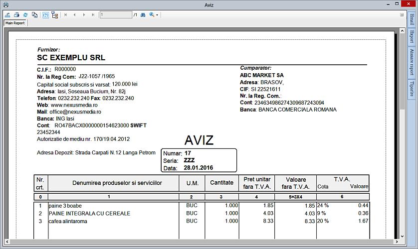 Listare aviz insotire marfa pe baza unui bon fiscal NexusERP 03