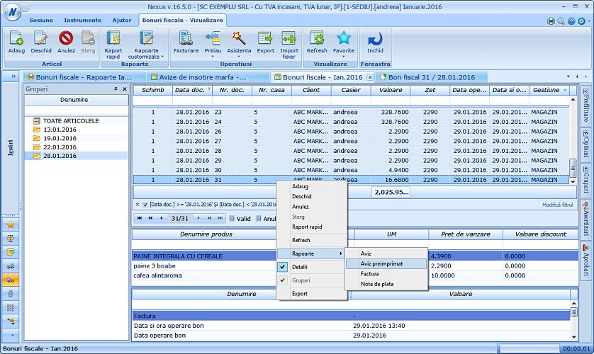 Listare aviz insotire marfa grafic pe baza unui bon fiscal NexusERP 02