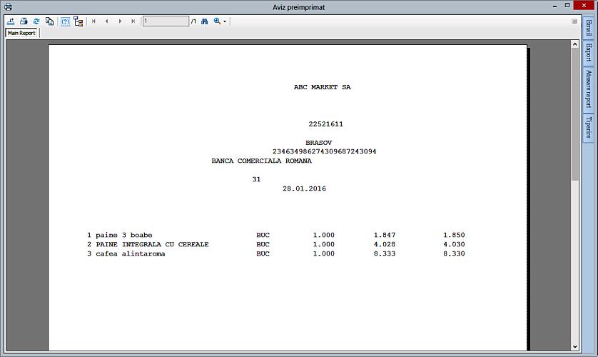 Listare aviz insotire marfa grafic pe baza unui bon fiscal NexusERP 03