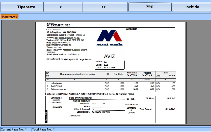 Format aviz grafic aferent bonului 03