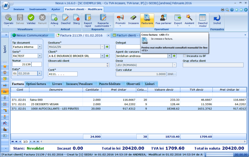 Scurtatura afisare tiparire factura client