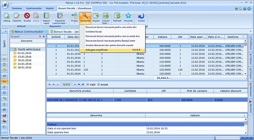 Adaugare simplificata raport fiscal 01