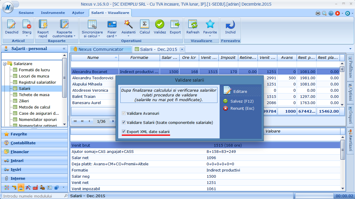 Export automat fisier in format XML de cheltuieli cu salariile pentru o anumita luna
