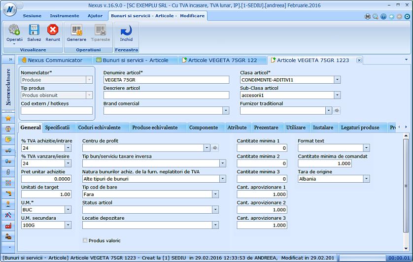 Import campuri suplimentare nomenclator produse 03