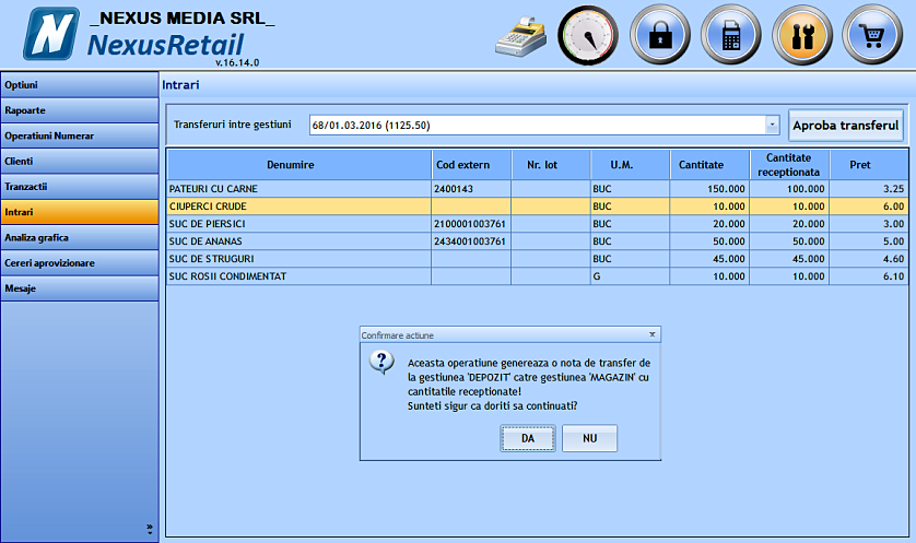 Generare nota transfer gestiune tampon gestiune curenta 05