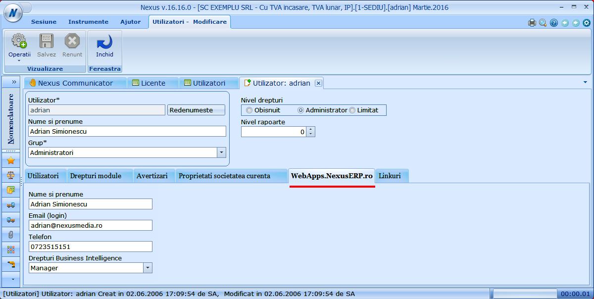 utilizatori darte cont suport nexuserp webapps