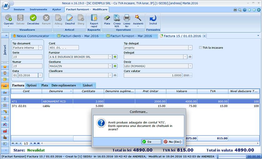 Adaugare document cheltuiala cont 471 factura furnizor 01