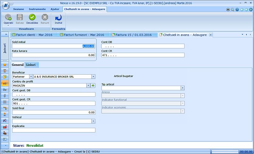 Adaugare document cheltuiala cont 471 factura furnizor 02