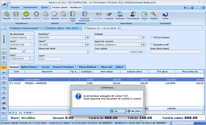 Adaugare document venituri cont 472 factura client 01