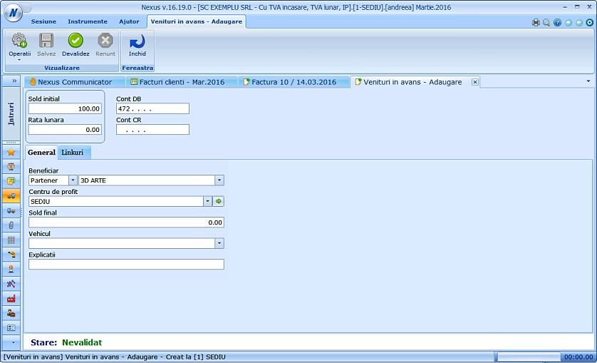 Adaugare document venituri cont 472 factura client 02