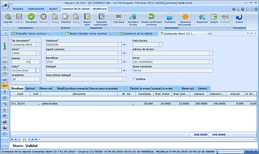 Import pret comanda client in ntc 01