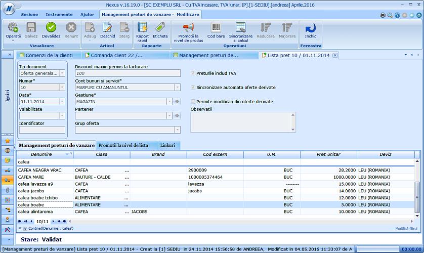 Import pret comanda client in ntc 02