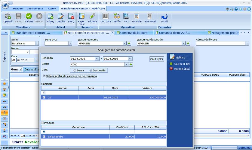 Import pret comanda client in ntc 03