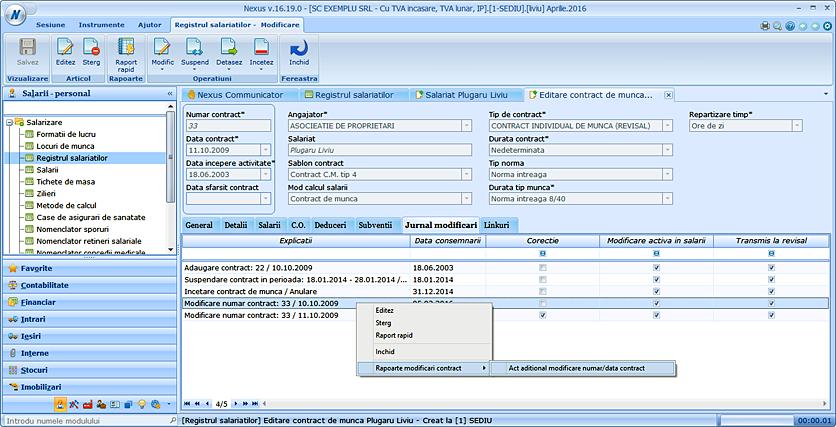 act aditional modificare numar data contract de munca 01