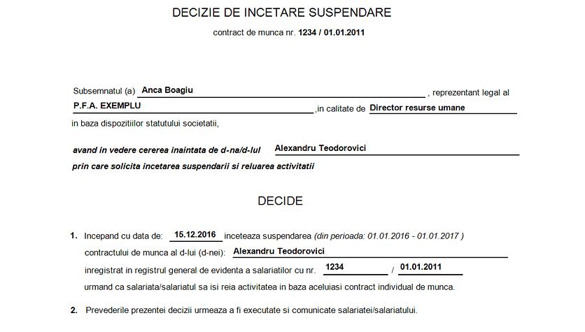 decizie incetare suspendare contract munca 3