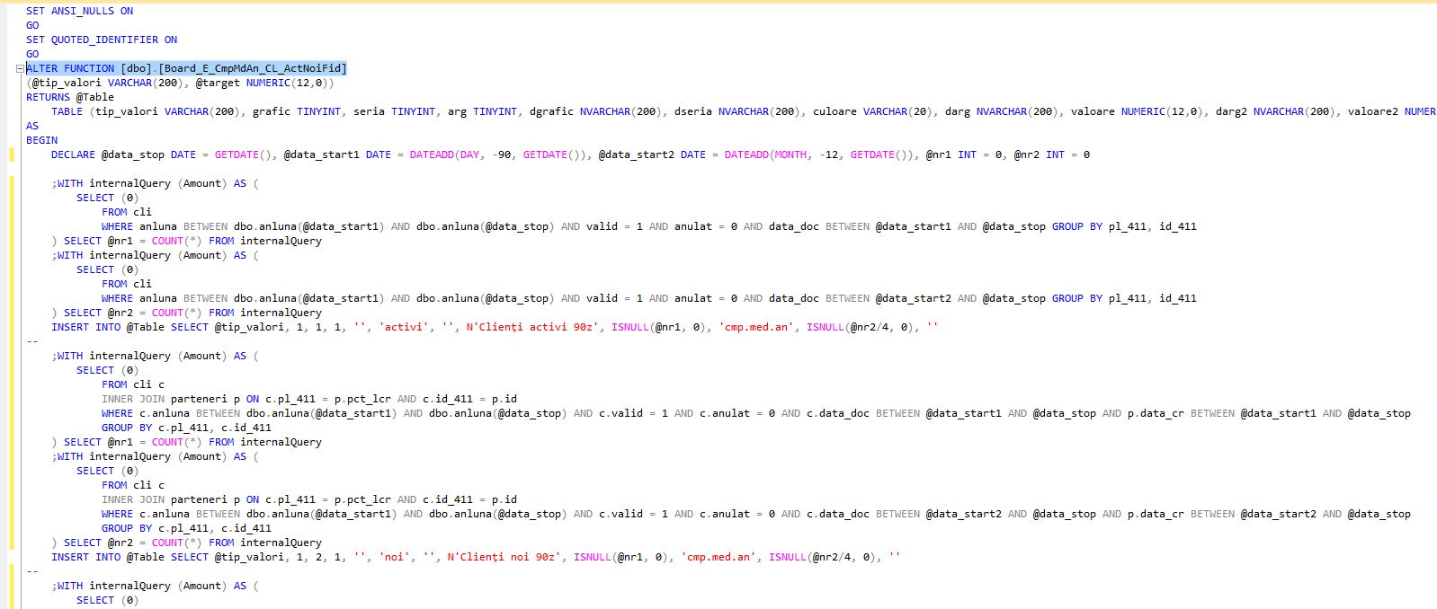 functie transact sql grafic dashboard clienti activi noi fideli 90 zile comparativ cu ultimul an