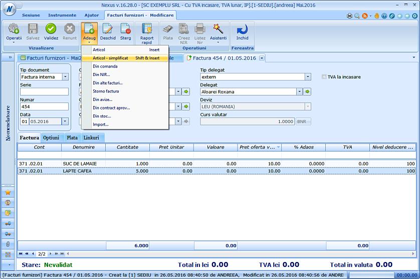 Adaugare simplificata facturi furnizori 02