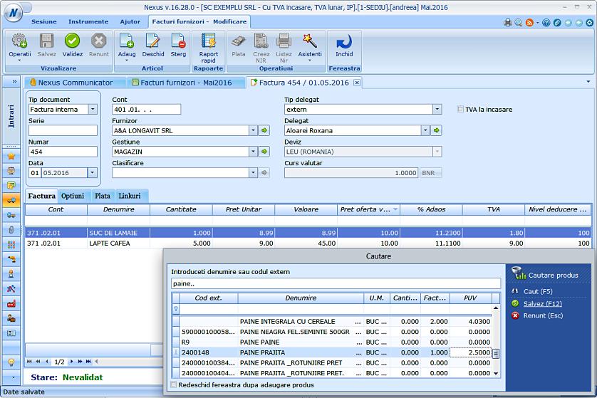 Adaugare simplificata facturi furnizori 03