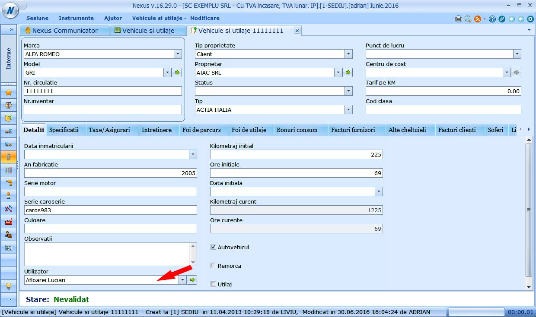 camp nou utilizator in vehicule si utilaje tabul detalii