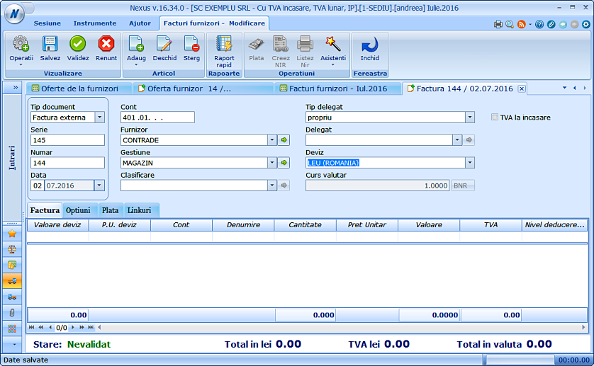 Posibilitate preluare pret achizitie pe factura din oferta furnizor 02