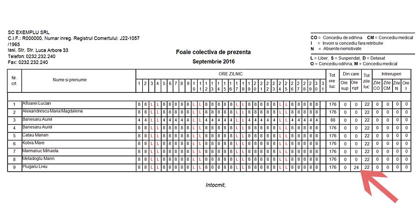 FOAIE COLECTIVA DE PREZENTA INCLUDERE ORE SPOR NOAPTE 3