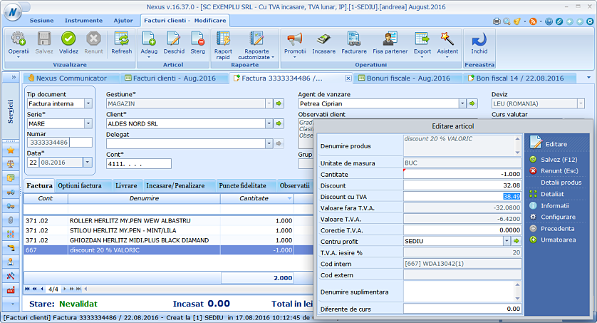 Adaugare valoare discount cu tva factura client