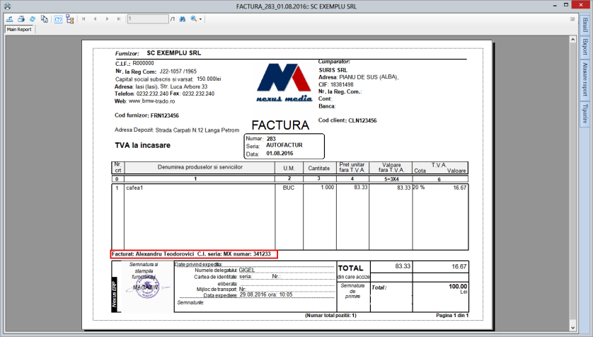 Facturist factura client 02