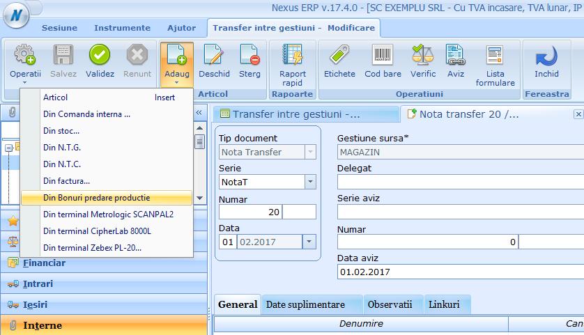 Transfer intre gestiuni Preluare date din Bpp 01