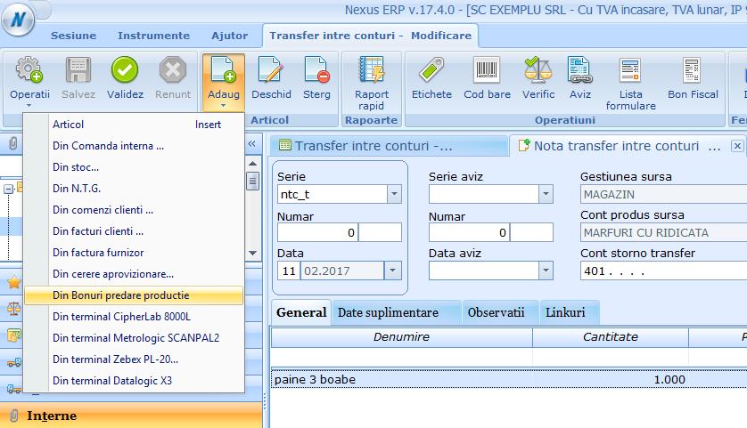 TRANSFER INTRE CONTURI PRELUARE DATE DIN BPP 01