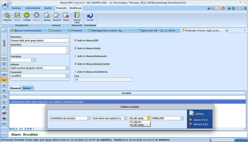Modificare conditie promotie in functie de cantitate pe produs 02
